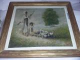 TABLOU/PICTURA VECHE semnata DIMITRU/datata 1918,protejata Geam,TGRATUIT