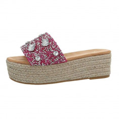 Papuci sic, cu platforma si numeroase aplicatii decorative, 36 - 41, Fuchsia