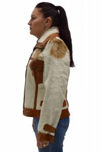 Cojoc dama, din blana naturala, Kurban, Bojlak-13-E5-95, alb imprimat