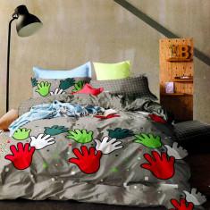 Lenjerie de pat din bumbac model cu palme colorate HX 34, 230x250 cm, Set complet