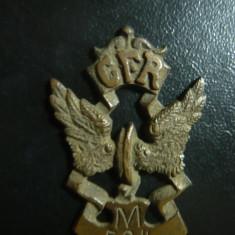 Insigna pt. CFR-isti Militari , numerotata , bronz ,h=5cm - era cusuta pe unifor