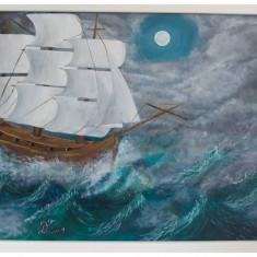 "Tablou pictura acrilica ""Furious Sea"""