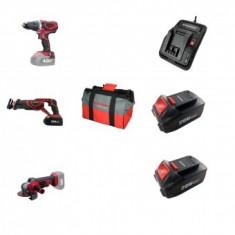 Set 3 scule cu acumulator Worcraft WSET-02, S20Li, Incarcator, 2 baterii incluse 4Ah, geanta