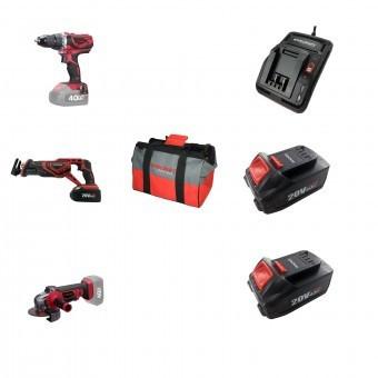 Set 3 scule cu acumulator Worcraft WSET-02, S20Li, Incarcator, 2 baterii incluse 4Ah, geanta foto