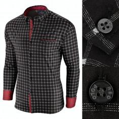 Camasa pentru barbati, in carouri, neagra, premium, slim fit, casual - Red Polo, 3XL, M, XXL, Maneca lunga