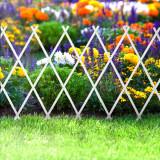 Bordura pt. pat de flori gard - extensibil, 200 x 100 cm - alb