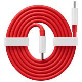 Cablu Date si Incarcare USB Type-C la USB Type-C OnePlus 3T, Warp Charge 65, 1 m, Rosu