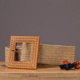 Curea lata elastica natur cu catarama patrata