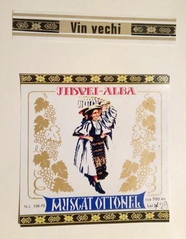 Etichete romanesti vin / eticheta veche romaneasca Muscat Otonel Jidvei ALBA '70
