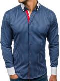 Cămașă bleumarin elegantă cu mâneca lungă pentru bărbat Bolf 2790