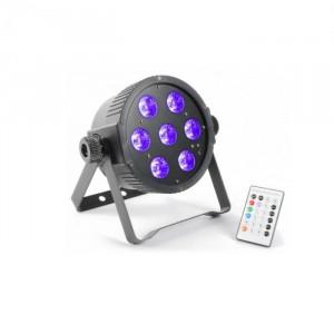 Beamz FlatPAR 7x 18W 6-în-1 HexColor RGBAWUV LED DMX IR telecomanda incl.
