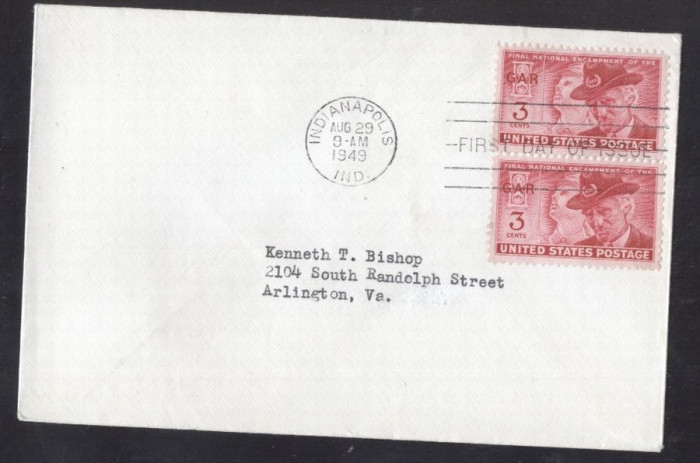 United States 1949 Veterans meeting x 2 FDC K.507