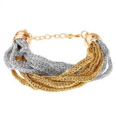 Brățară, lanțuri împletite din material fin, auriu și argintiu