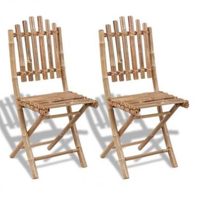 Set 2 scaune pliabile din lemn de bambbus foto