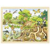 Puzzle Explorand natura Goki, 40 x 30 x 0.8 cm, 96 piese, lemn, 5 ani+