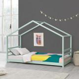 [en.casa]® Pat copii Tina MG1, 206x98x142 cm, lemn de brad, verde menta mat lacuit, cu gratar pat, fara saltea HausGarden Leisure, [en.casa]