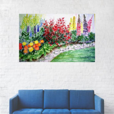Tablou Canvas, Pictura Alee cu Flori Multicolore - 20 x 30 cm