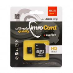 Card memorie IMRO microSD 16GB clasă 10 UHS cu adaptor SD