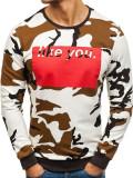 Bluză pentru bărbat fără glugă camuflaj-albă Bolf 2060