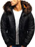 Cumpara ieftin Geacă de iarnă pentru bărbat neagră Bolf 99123
