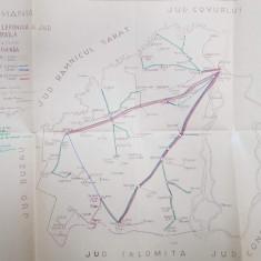 HARTA TELEFONICA A JUDETULUI BRAILA , SCARA 1 / 200. 000 , DESENATOR PEINCIPAL ION CHIRIAC, POLICROMA , 1941