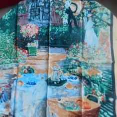 REPRODUCERE  CLAUDE MONET , ESARFA  MATASE NATURALA   50 x  50   cm