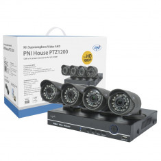 Resigilat : Kit supraveghere video AHD PNI House PTZ1200 Full HD - NVR si 4 camere