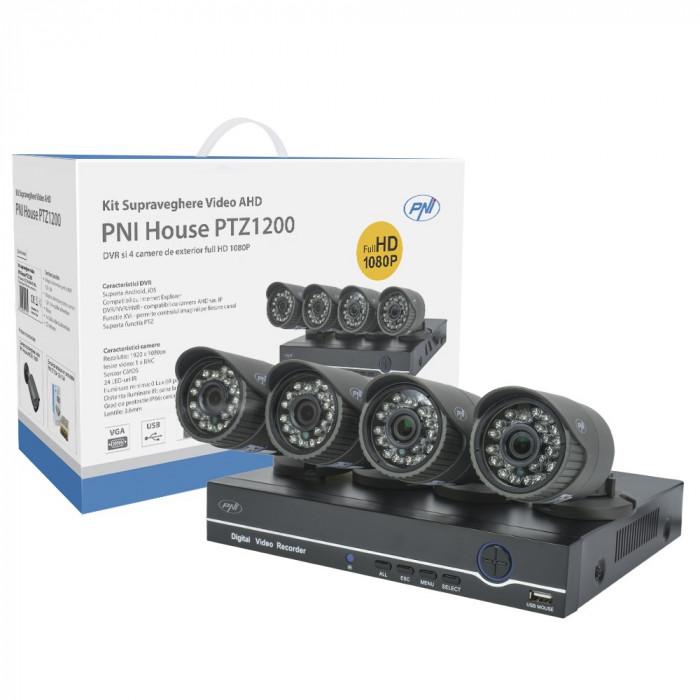 Resigilat : Kit supraveghere video AHD PNI House PTZ1200 Full HD - NVR si 4 camere
