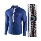 Camasa pentru barbati, albastru, slim fit, casual - Leon Special, L, M, S, XL, XXL, Maneca lunga