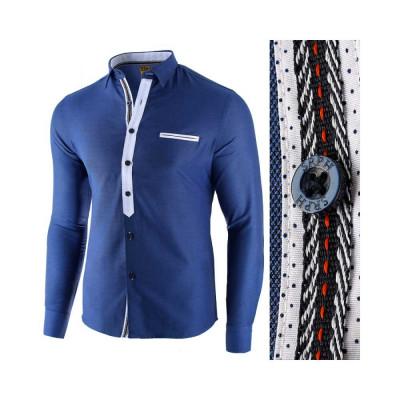 Camasa pentru barbati, albastru, slim fit, casual - Leon Special foto
