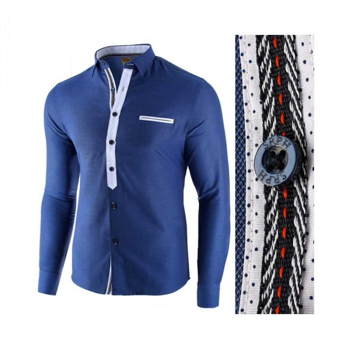 Camasa pentru barbati, albastru, slim fit, casual - Leon Special