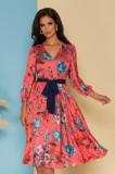 Rochie Ginette orange din voal satinat cu imprimeu floral