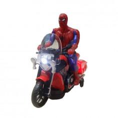 Jucarie Spiderman pe motocicleta cu lumini si sunete