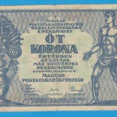 (1) BANCNOTA UNGARIA - 5 KORONA 1919 (18 MAI 1919) - MAI RARA