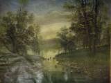 Cumpara ieftin Tablou mare vechi, ulei / pânză lipită pe carton, Peisaj, 60 x 46, autor maghiar