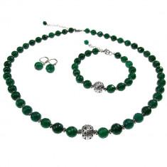 Set agate naturale verde-smarald cu insertii tip Bali