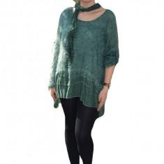 Bluza tricotata trendy cu maneca lunga, de culoare verde inchis
