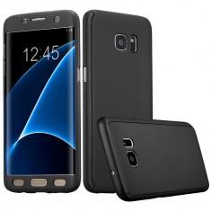 Husa Samsung Galaxy S7 Edge Flippy Full Cover 360 Negru Folie de protectie, Carcasa