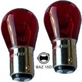 Bec doua faze asimetric S25 12V BAZ15D ROSU (pret 10buc) Mall