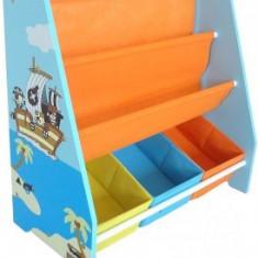 Organizator carti si jucarii Copii cu cadru din lemn Blue Pirate
