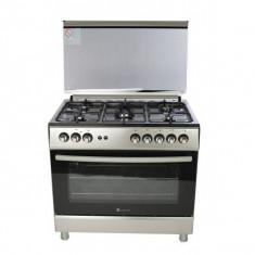 Aragaz Studio Casa FE90/60, 5 arzatoare gaz, 90 x 60 cm, grill, rotisor, aprindere electrica, inox