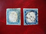 SARDINIA 1855/63 2 NUANTE DE ALBASTRU, Stampilat