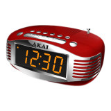 Radio cu ceas Akai, AM/FM, ecran LED, Sleep Timer, alarma, functie snooze, Rosu
