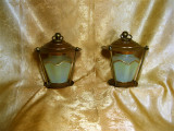 Veioza Art Deco Vienez, cupru, opalina, vintage