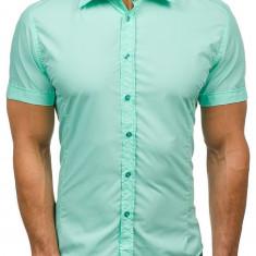 Cămașă elegantă cu mâneca scurtă pentru bărbat verde-mentă Bolf 7501