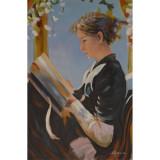 Femeie citind- pictura in ulei PC-124, Portrete, Realism