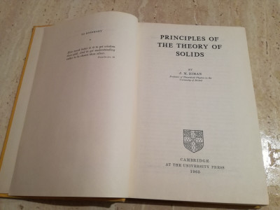 Principles of the Theory of Solids – J M Ziman foto