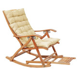 Balansoar de terasa/living lemn ajustabil cu cadru rezistent cu perna crem