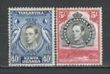 Kenya,Uganda,Tanganika.1938 Regele George VI-Vederi  2 buc.  MX.14, Nestampilat