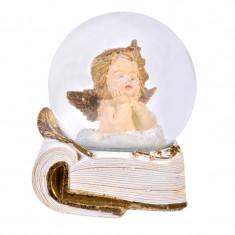 Glob de sticla cu zapada artificiala, 100 mm, figurina ingeras